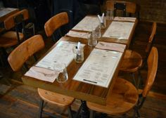 Commercial Spaces – Meatball Shop. Salvaged wood and iron chairs. Recycled Brooklyn Inc.