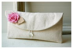 pink clutch burlap purse wedding rustic raw cotton linen shabby rose color choice purse Personalize Bridesmaid party gift MakeUp tagt team. $19.00, via Etsy.