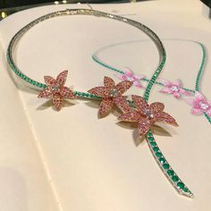 When beautiful things come to life  Three beautiful pink diamond flowers on an emerald stem  #vancleefandarpels #vca #vcateam