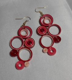 Reds and Pinks Large 2.5 Earrings 3B by RheasOriginals on Etsy