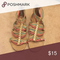 Gladiator sandals (coral, blue, tan) Never worn! Soda Shoes Sandals