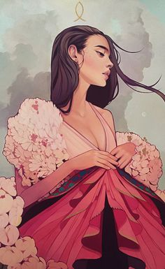"""Bee's Nest"" - Kelsey Beckett, oil on canvas, 2016 {figurative illustration beautiful female profile woman portrait painting} kelseybeckett.com"