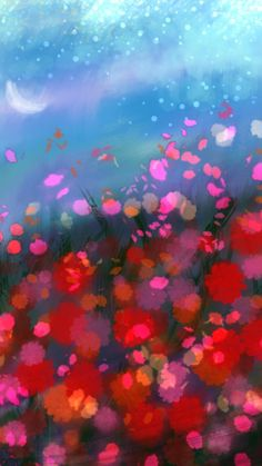 Painting flowers on the field background. Wallpaper paintings, red flowers, flowers in the field, pretty paintings, sazum backgrounds 2017 HD