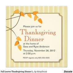 Fall Leaves Thanksgiving Dinner Invitation