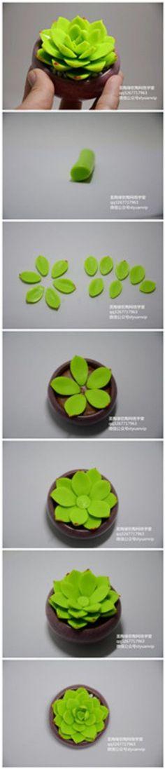 Polymer Clay Cactus Flower #cactusflowerdiy