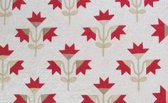 Stunner Antique c1880s Carolina Lily Quilt Turkey Red Tan White | eBay