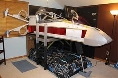 Star Wars X-Wing Fighter bed with tv on http://www.drlima.net