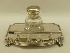 London 1913 Solid Hallmarked Silver Inkwell & Stand Goldsmiths & Silversmiths #GoldsmithsSilversmiths