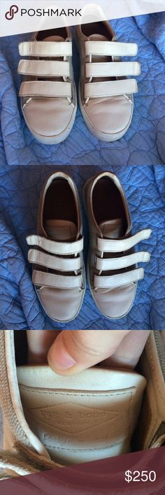 Rag & bone canvas/leather Velcro shoes Super cute Velcro shoes. Wore these about 5 times & they just aren't my style anymore. A few scuff marks as shown in the pictures but still in very good condition 7.5/10 rag & bone Shoes Sneakers