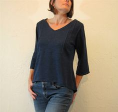 Pintuck Blouse  Indigo Blue Knit by careydion on Etsy, $98.00