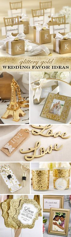 Gold & Sparkly! Theme - I love the metal Love tags. You could carve/stamp the date into them and add a keyring for guests to keep.