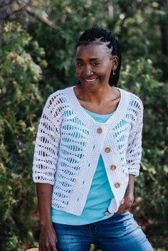 White Caps Cardigan - I Like Crochet Cardigan Pattern, Sweater Cardigan, White Caps, Wave Pattern, Single Crochet, Sweaters, How To Wear, Cotton, Shirts