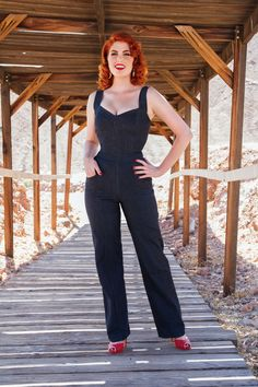 Laura Byrnes Daphne Overalls in Stretch Denim | Vintage Style Overalls | Pinup Girl Clothing