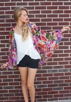 American Threads - Sheer Floral Kimono Top
