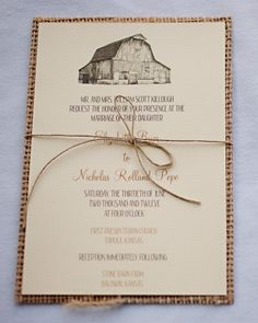Texture was a key component of the stationery suite, so the invites were backed with burlap. An illustration of their barn venue topped the card, which was printed on paper that mimicked the feeling of fabric.