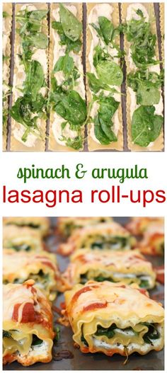 Spinach and Arugula Lasagna Roll-Ups sound fancy, but they are far from it! Filled with leafy greens, cheese and marinara sauce, this is one meal the whole family is sure to enjoy! #pastafits @MomNutrition