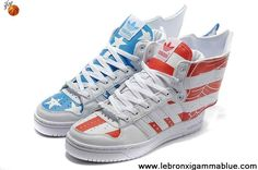 Best Gift Adidas X Jeremy Scott Wings 2.0 America Flag Shoes Red Blue Fashion Shoes Store