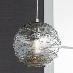 Swirling Glass Globe Mini Pendant Light clear_glass_and_bronze_swirls_with_chrome_hardware