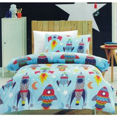 Rocket quilt cover set is perfect for children that love space travel, rockets and spaceships. Double Bed Size, Double Beds, Folding Bed Ikea, Ikea Bed, Bedroom Accessories, Quilt Cover Sets, Kids Bedroom, Bedding Sets, Duvet Covers