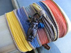 Owl of Sunset Silk Ribbon Wrap Bracelet  by SoulsFireDesigns