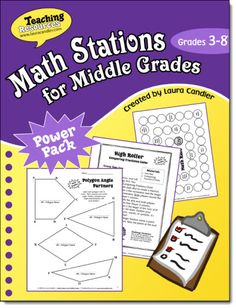 Math Stations for Middle Grades (Grades 3 through 8) from Laura Candler - includes management tips for setting up math stations as well as some games that you can customize with your own math content. $