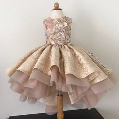 Custom made dress with lace appliqués 👸🏼🌸✨💎 – Wedding Dresses Little Girl Gowns, Gowns For Girls, Girls Formal Dresses, Little Dresses, Little Girl Dresses, Flower Girl Dresses, Kids Party Wear Dresses, Ball Dresses, African Dresses For Kids