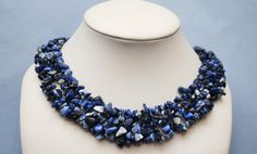 Blue Sodalite Gemstone  Woven Bead Collar by serendipitytreasure, $26.00