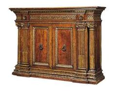 AN ITALIAN RENAISSANCE PARCEL-GILT WALNUT CREDENZA  16TH CENTURY AND LATER, TUSCAN Tuscan Furniture, Baroque Furniture, Italian Furniture, Fine Furniture, Vintage Furniture, Furniture Decor, World Office, Renaissance Furniture, Antique Buffet