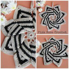 PINK ROSE CROCHET: Pega Panelas Catavento Bicolor Pinwheel Pot Holder...