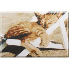 Magnetbutton, Küchenmagnet, Kätzchen im Liegestuhl, Gr. ca. 8 x 5,5 cm