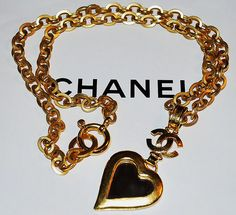 Authentic Chanel Vintage Gold Plate CC Mirror Heart by PurseAngels, $848.00