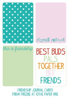 Free BFF Journal Cards from The Paper Vine #projectlife #journalcards