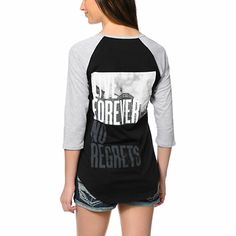 Set your style apart in the No Surrender baseball tee from Glamour Kills. This baseball tee for women has a Black body with contrasting Grey raglan sleeves, along with screen print graphics at the front and back, while the relaxed fit combined with pure c Baseball Tees For Women, T Shirts For Women, Heather Black, Sweater Weather, Dress Outfits, Dresses, Glamour, Pure Products, My Style