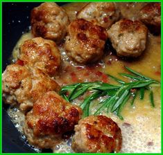 Gluten free meatballs cooked in cognac cream sauce and prosciutto.