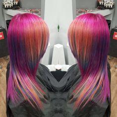 #unicorn #hair #hairstyle #color #haircolor #crazy #atwork #longhair #unicornhair