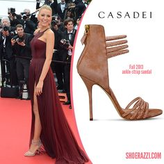 Blake Lively in Casadei Strappy Suede & Crystal-Embellished Sandals - ShoeRazzi