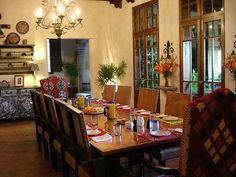 I think that's big enough for the fam. Mexican Style Homes, Hacienda Style Homes, Spanish Style Decor, Spanish Style Homes, Spanish Colonial, Mexican Dining Room, Mexican Furniture, Modern Rustic Homes, Southwest Decor