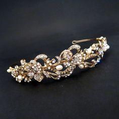 Gold bridal headband, Gold wedding headpiece, Bridal rhinestone headband, Rhinestone headpiece, Freshwater pearl headband by TheExquisiteBride on Etsy https://www.etsy.com/listing/176713581/gold-bridal-headband-gold-wedding