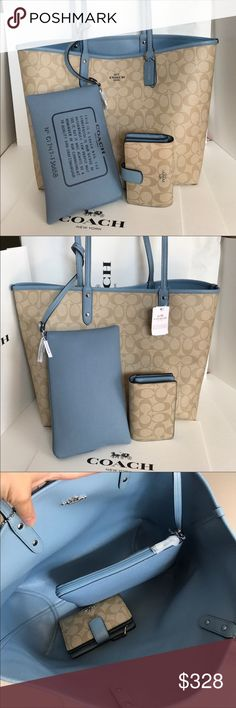 🍀Coach Reversible Set🍀 100% Authentic Coach Reversible Tote Bag and Wallet, both brand new!.😍😍😍 Coach Bags Totes