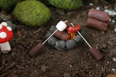 Polymer Clay Hot Dog and Marshmallow Roaster by GnomeWoods