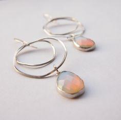 Sterling silver hoop earings white opal earings by elenaVjewels