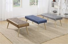 The Amity Bench retro cool for any modern home. Three color options Sizzle Copper, Sizzle Azure & Sizzle Pewter.  Model #AMT24-S53, AMT24-S54, AMT24-S52