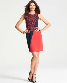 Crosstown Leopard Jacquard Sheath Dress | Ann Taylor