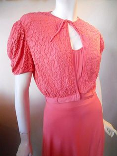 Rose pink jersey rayon 30s gown with puff sleeve jacket
