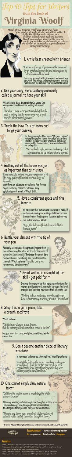 """10 Tipps für Autoren von Virginia Woolf. Bis auf den Tipp """"Trash the How-Tos"""" stimme ich zu. Ich habe viel von Schreibratgebern gelernt. Und mehr noch vom Schreiben von Schreibratgebern."""