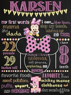 Baby Minnie Mouse Birthday Chalkboard Poster by VickiTsCreations