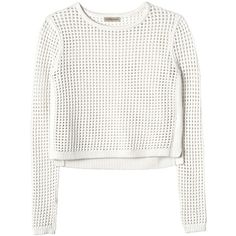 Rebecca Taylor Mesh Cropped Pullover ($139) ❤ liked on Polyvore featuring tops, sweaters, shirts, crop tops, chalk, white shirt, mesh crop top, white crop shirt, crop top and white pullover sweater