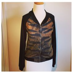 Tiger Print Jersey Bomber Jacket A lovely and soft lightweight knit bomber jacket with that fantastic print on the back. Brand new without tags. Jackets & Coats