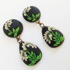Boho Polymer Clay Teardrop Earrings Greenery by PiperPixieDesigns, $25.00