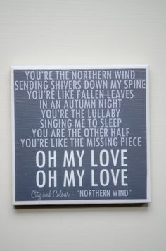 "city and colour ""northern wind"" lyric art coaster $8"